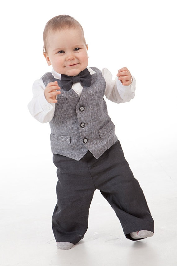 Ring bearer gray outfits 1st birthday linen suit Rustic