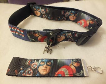 Captain America pet collar - 12.5 - 19 inches with free wristlet