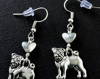 Silver Pug Earrings / Pug Jewelry, Pug Dog Earrings, Pugs, Dog Earrings, Dog Jewelry, Pug Lovers, Pug Gifts, Pug Art, Pug Life, Silver Dog
