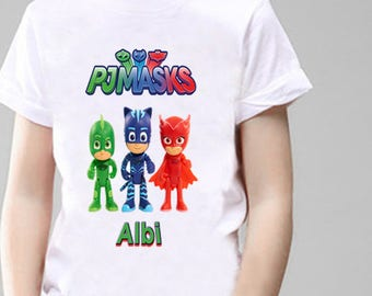 PJ Masks Personalised T-Shirt, Printed With Any Name.
