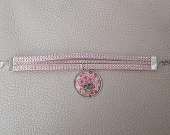 Bracelet suede and skull cabochon flower