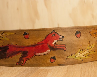 Leather Guitar Strap - Handmade in the Life in the Woods pattern with fox, squirrel and bird - Acoustic or Electric Guitar, Banjo, Bass