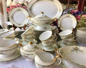 Antique China Set Service for 10 Meito Japan Florals Gold Trim Green and Yellow Border 81 pieces Very Rare Pattern  V2009