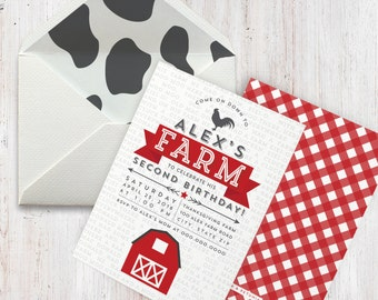 Farm Birthday Party Invitation, Farm Birthday, Petting Zoo Party Invite, Envelope Liner