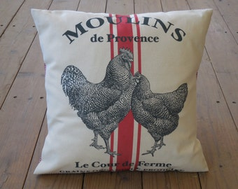French Chicken Pillow, Red Stripe, Rustic French Farmhouse, Grain sack, Shabby Chic,Farm1,  INSERT INCLUDED