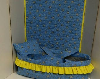 """Baby Doll Bed / Carry Cot / Moses Basket / Gift for Little girl / Christmas gift / 18"""" Doll"""