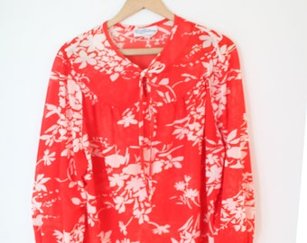 vintage oversized red & white floral tunic top