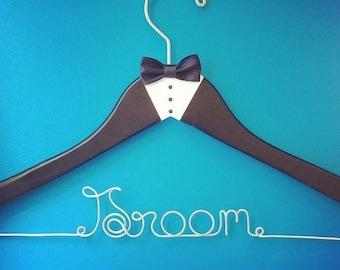 Custom Wedding Hanger, Wedding hanger, Groom's hanger, handmade personalized hanger, Custom hanger, Name hanger, tuxedo hanger