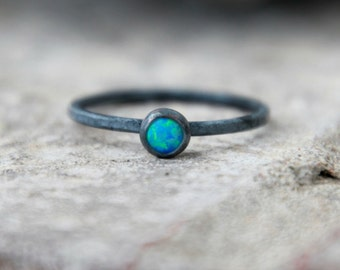 OXIDIZED OPAL RING - Opal Stacking ring ~ Opal ring - sterling opal ring - Gemstone Ring - black opal ring - stacking gemstone ring