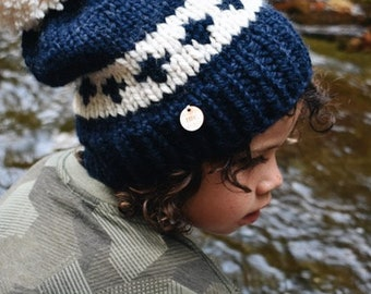 The Carrington - Chunky Knit Adult Size Beanie (Navy/Cream)