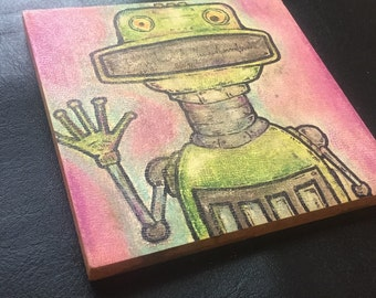 "Robot Class Photo #17: Croc (Pastel/Ink on 5""x5"" canvas panel)"