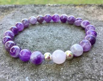 Amethyst, rose quartz bracelet, gemstone bead bracelet, charity bracelets, proceeds to charity, profits for paws.