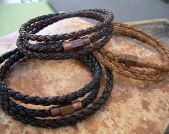 Men's  Bracelets Leather, Leather Bracelets for Men, Leather Bracelet, Men Bracelet, Magnetic Bracelet, Leather Wrap Bracelet, Mens