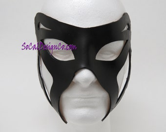 Mens Masquerade Mask - Black - Leather Mask - Halloween Mask - Masquerade Mask - Leather Masks – Venetian Mask – Black Leather Mask