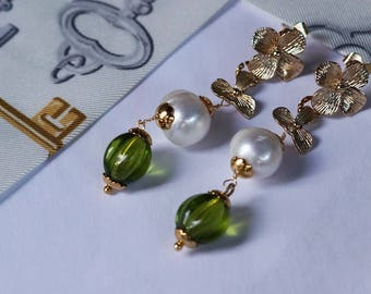 Long Pearl and Glass earrings (0024)
