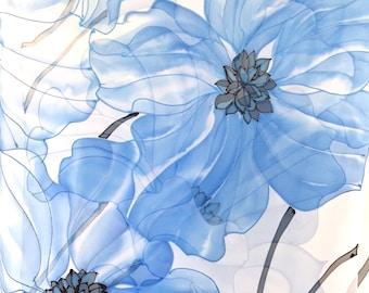 Bridal Chiffon Shawl, Blue Silk Shawl, Wedding Silk shawl, Oversized Scarf, Large Silk Wrap, Handpainted Scarf, Blue Poppies Scarf, Takuyo,