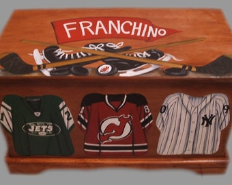 Custom Designed Sports Team Toy Chest on Cherry Stained with your sport, wooden hand-made and painted chest,kids furniture,personalized