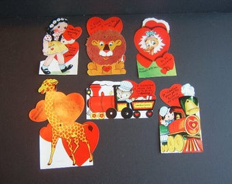 6 Larger Valentines with moving parts - Unused