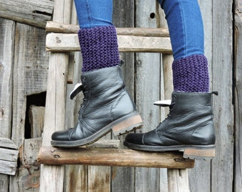 Purple cuffs Hand knitted cuffs Boot toppers Dark purple leg warmers Chunky cuffs Boot cuffs Knit boot socks Boot liners