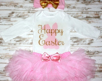 Easter Bunny Gold Pink Personalized Onesie-Easter Photo Prop-Eater Outfit