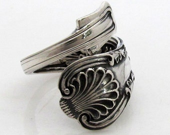 Size 5 to 9 Rare Rococo Wrapped Kings Sterling Spoon Ring