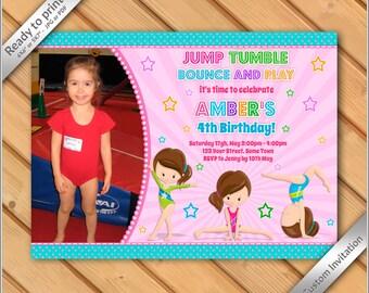 50% OFF SALE -Gymnastics Birthday photo Invitation - Pink Gymnastics Invitation - Printable Gymnastics Birthday Party Invites #2