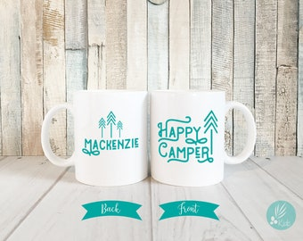 Personalized Mug for Kids, Happy Camper Mug, Personalized Gifts for Kids, Cute Mug, Personalized Coffee Mug with Name, Camping Mug Gift