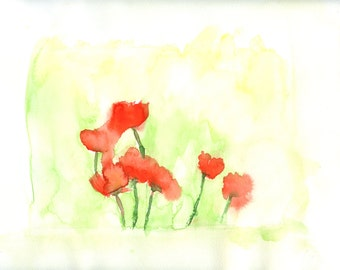 Red Poppies in a Field a digital download of an original watercolor painting