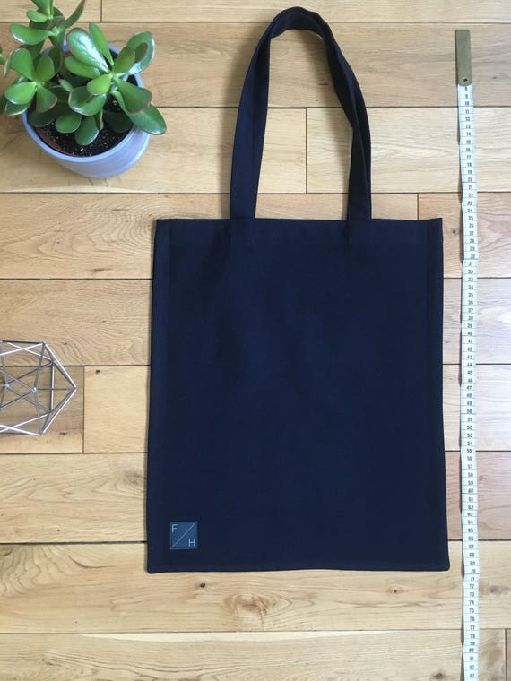 Heavyweight navy wool woven twill Tote Bag with zip compartment