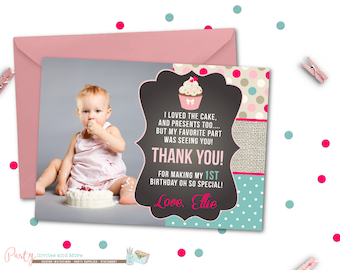 Pink ombre thank you card first birthday thank you card cupcake thank you card chalkboard thank you card cupcake thank you card first bookmarktalkfo Image collections