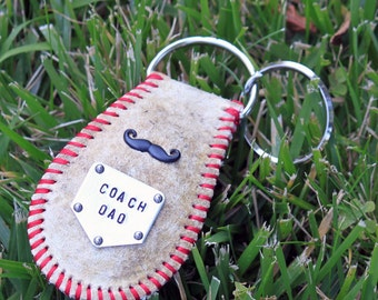 Personalized baseball keychain or bag tag - leather real baseball - custom stamped - baseball dad - coach gift - home plate charm