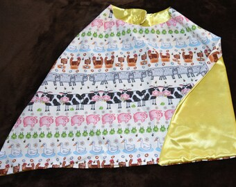 Barnyard Animal Yellow Reversible Cape, Small