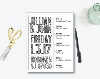 Printable Itinerary wedding Itinerary custom Wedding Program Wedding schedule Black white itinerary wedding download wedding welcome bag