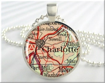 Charlotte Map Pendant, Resin Charm, Charlotte North Carolina Map Necklace, Round Silver, Gift Under 20, Map Charm 577RS
