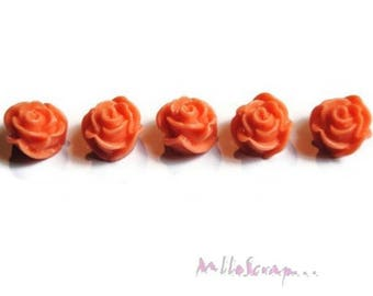 Set of 5 dark salmon pink resin embellishment scrapbooking card *.