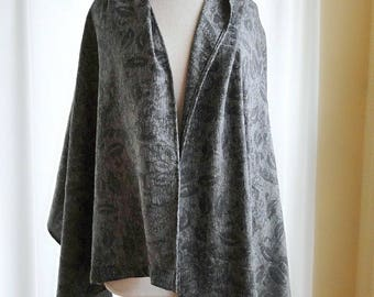 Oversized hemp linen shawl wrap charcoal grey or denim blue