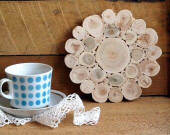 Juniper Wood Trivet, Flower, Natural Handmade Coaster, Rustic Home Wedding Decor, Wooden Kitchen Utensil, Untreated Wood