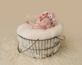 Flower Bonnet, Garden Bonnet, Sitter Bonnet, Floral Bonnet, Baby hat, Knit Baby Bonnet, Newborn Baby Girl Hat, Baby Hat, Knit Baby Hat