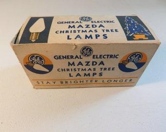 10 Vintage Blue GE Mazda C-6 Christmas Tree Bulbs, New Old Stock ~ FREE SHIPPING