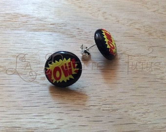 vinyl earrings, earrings, comic earrings, jewelry, vinyl, POW earrings, comic jewelry, stud earrings, post earrings, nickel free, fashion