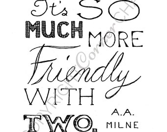 Friendship Embroidery Pattern, PDF Embroidery File, Romantic Quote, Embroidery Pattern, PDF Embroidery Pattern, A. A. Milne Quote