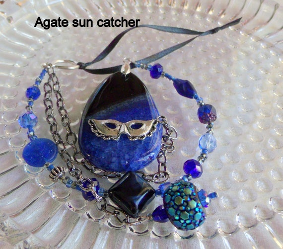 Sun catcher for Window - masquerade - peony blue decor -  agate pendant - gemstone -  rear view mirror - charm for car - beaded sun catcher