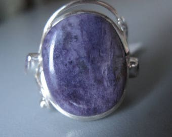 Sterling Silver Artisan Leaf Purple Charoite And Ametyst Ring 8.5 (1994)