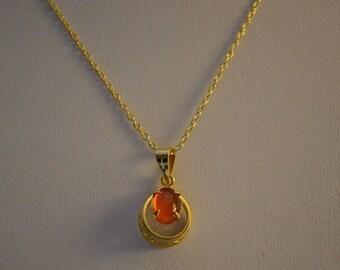 Vintage, Carnelian Filliree Gold Filled Pendant Necklace (1050005)