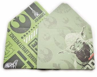 Star Wars Yoda 5x7 Envelopes, card envelopes, invite envelope, thank you, large envelopes, party favor, gift card envelope