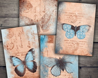 Vintage Postcards with Butterflies - Digital Collage Sheet Download - Digital Paper Printables