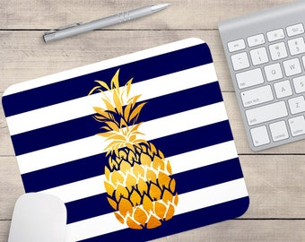 Navy Gold Foil Pineapple Mouse Pad, Glitz Mouse Pad, Navy and White Stripes Mouse Pad, Personalized Mouse Pad, Name On Mouse Pad (0078)