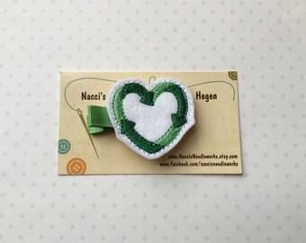 Felt Hair Clip- Recycle Heart Hair Clip