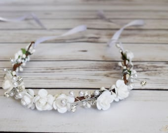 Handcrafted Dainty White Rose Flower Crown - Pearl Rhinestone Flower Crown - Bridal Rose Crown - Flower Girl Halo - Small White Flower Crown