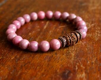 Rhodonite Wrist Mala Meditation Jewelry Prayer Beads Yoga Bracelet 21 Bead Mala Yoga Beads Spiritual Jewelry For Love and Heart Chakra Mala